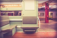 Vintage NYC subway train car interior Royalty Free Stock Photography