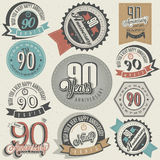 Vintage style ninetieth anniversary collection. Ninety anniversary design in retro style. Vintage labels for anniversary greeting. Hand lettering style Royalty Free Stock Images