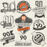 Vintage style ninetieth anniversary collection. Ninety anniversary design in retro style. Vintage labels for anniversary greeting. Hand lettering style Royalty Free Stock Image