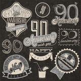 Vintage style ninetieth anniversary collection. Ninety anniversary design in retro style. Vintage labels for anniversary greeting. Hand lettering style Stock Images