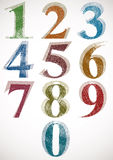 Vintage style numbers typeset. Vintage style numbers typeset, classic shaped symbols with sketch lines texture, vector Royalty Free Stock Photos