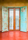 Vintage style old aged house door and window Stock Photography