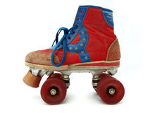 Vintage style old roller skate. Isolated against white background Stock Image