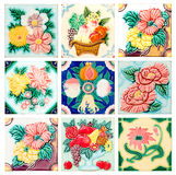 Vintage style old tile decorative surface flower Royalty Free Stock Image