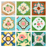 Vintage style old tile decorative surface flower Royalty Free Stock Images