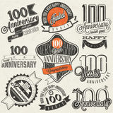 Vintage style One Hundred anniversary collection. Stock Images
