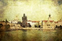 Vintage style panorama of old Prague Stock Photos