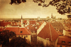 Vintage style panorama of old Tallinn Royalty Free Stock Images