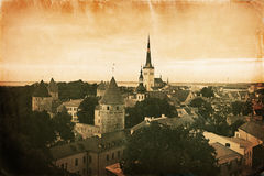 Vintage style panorama of old Tallinn Stock Image