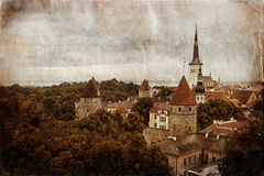 Vintage style panorama of old Tallinn Stock Photo