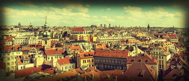 Vintage style panoramic view of Prague, Czech Republic Royalty Free Stock Photos