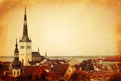 Vintage style panoramic view of Tallinn Stock Photo