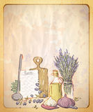 Vintage style paper backdrop with empty place for text and illustration of provence still life. Stock Photo