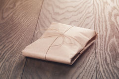 Vintage style parcel wrapped with rope Stock Image