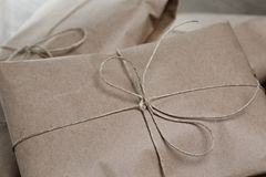 Vintage style parcels wrapped with rope. Close up photo stock photography
