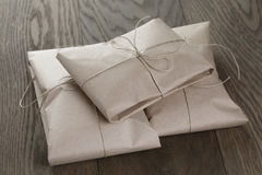 Vintage style parcels wrapped with rope stock photography