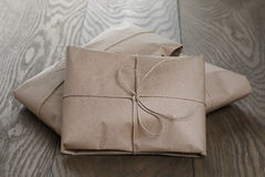 Vintage style parcels wrapped with rope royalty free stock photos