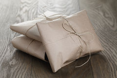 Vintage style parcels wrapped with rope stock photo