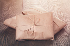 Vintage style parcels wrapped with rope. Toned photo royalty free stock photography
