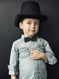 Vintage style photo of a cute young boy Stock Photos