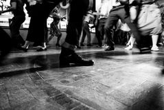 Vintage style photo of dance hall with people dancing. Bottom view stock photos