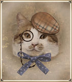 Vintage style photo of the dressed cat Royalty Free Stock Image