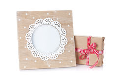 Vintage style photo frame and gift box Stock Photo
