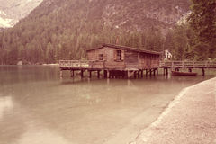 Vintage style photo of mountain lake Royalty Free Stock Photography