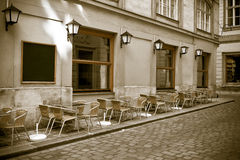 Vintage style photo of outdoor cafe Royalty Free Stock Photos