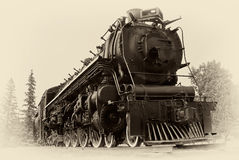 Vintage Style Photo of Steam Train. A 4-8-4, or Northern type steam train engine built by The Montreal Locomotive Works for Canadian National Railways in 1942 stock photography