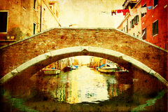 Vintage style picture of a bridge in Venice Stock Photos