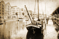 Vintage style picture of Delfshaven Royalty Free Stock Photo
