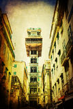 Vintage style picture of the elevator Santa Justa in Lisbon Royalty Free Stock Image