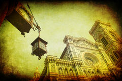 Vintage style picture of the Florence Cathedral Royalty Free Stock Photos