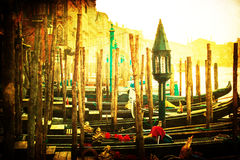 Vintage style picture of gondolas at the Grand Canal Stock Photo