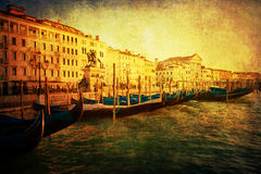 Vintage style picture of the lagoonside of Venice with gondolas Stock Photography