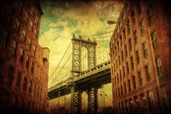 Vintage style picture of the Manhattan Bridge in Manhattan, New York City Stock Photos