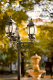 Vintage style picture with old street lamp in the park Royalty Free Stock Photos