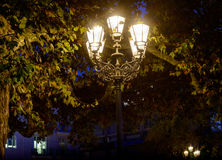 Vintage style picture  old street lamp in the park at autumn Stock Image