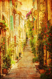 Vintage style picture of a Provencal alley Royalty Free Stock Image