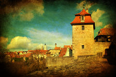 Vintage style picture of Rothenburg Stock Images