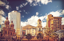 Vintage style picture of Santiago de Chile downtown, Chile. Royalty Free Stock Photo