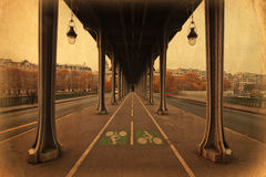 Vintage style picture of the Seine bridge Bir Hakeim Royalty Free Stock Photography