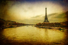 Vintage style picture of the Seine and Eiffel Tower Royalty Free Stock Photos