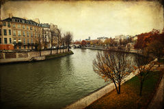 Vintage style picture of the Seine in Paris Royalty Free Stock Image