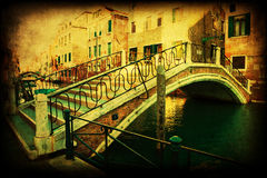 Vintage style picture of a typical bridge in Venice, Italy Royalty Free Stock Photo