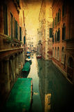 Vintage textured picture of a canal in Venice Royalty Free Stock Photo