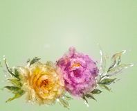 Vintage style pink and yellow roses. Stock Photo