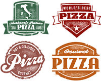 Vintage Style Pizza Stamps Stock Photo