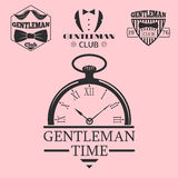 Vintage style pocket watch gentleman vector illustration badge design mustache element. Royalty Free Stock Photo